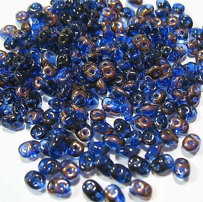SuperDuo Blue Sapphire Vitrail 2-Hole 5mm Czech Seed Beads 20 grams Super Duo