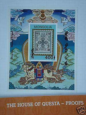 MONGOLIA 70th Anni. of Mongolian stamps S/S (proof)
