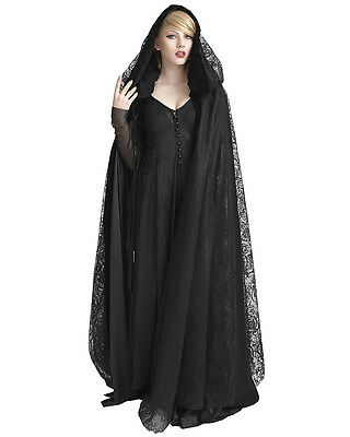 Punk Rave Womens Cloak Black Lace Velvet Gothic Witch Hooded Jacket Coat Cape