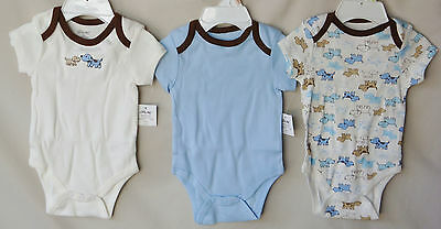 LITTLE ME 100/% COTTON 3 pack MONKEY STAR  Lap Shoulder Bodysuits *BOY SIZES NWT