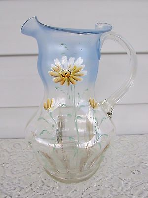 Hand Painted Floral Blue to Crystal Glass Pitcher Ruffled Edge~Estate
