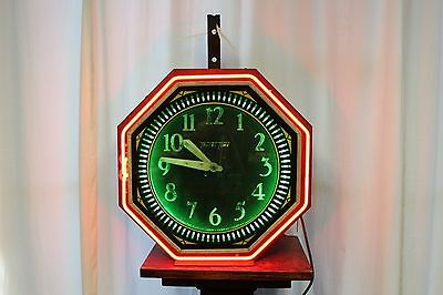 1940-50s Original TRAVEL TIME mfgd Neon Products Advertising Light up Clock