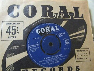 """BUDDY HOLLY """"Buddy - By Request"""" Rare 7"""" EP - Coral FEP 2065"""