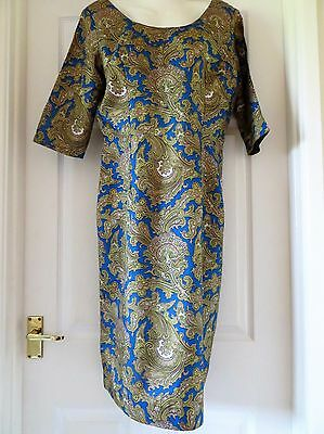 BLUE/GOLD/BEIGE PRINT TRICEL DRESS, VINTAGE SIZE 14, 1960s, EXCELLENT CONDITION