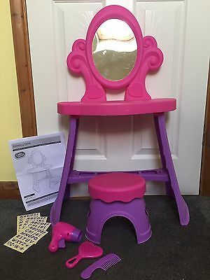 Girls Pink & Purple Chad Valley Plastic Dressing Table & Stool With Accessories.