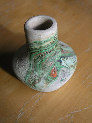 Delightful Nemadji Pottery Miniature Small Vase , Very Colorful , Marked