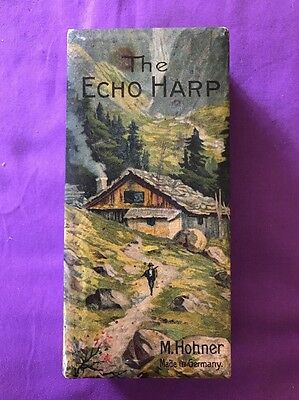 "Vintage ""The Echo Harp"" M. Hohner - Advertising -Harmonica-BOX ONLY See pics"
