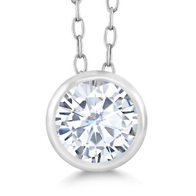 0.50 Ct Round White Created Moissanite 925 Sterling Silver Pendant With Chain
