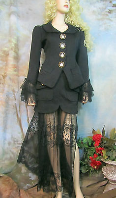 Goth GEMMA KAHNG suit JACKET see-thru LACE SKIRT new condition NEIMAN MARCUS 6