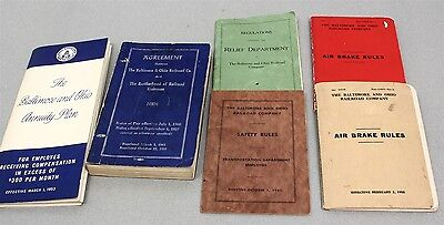 Lot of 6 BALTIMORE & OHIO B&O RAILROAD RULE BOOKS plus AGREEMENT & ANNUITY PLAN