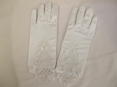 Bridal, White Satin Gloves, Flower Embroidery, Sequins & Pearl Beads Detail New