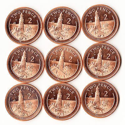 2000 Gibraltar 2 Pence - Lot of 9 UNC Coins #906 Europa Point Lighthouse