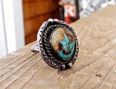 Old Navajo Sterling Silver Native American Turquoise Great Stone Size 8 Ring