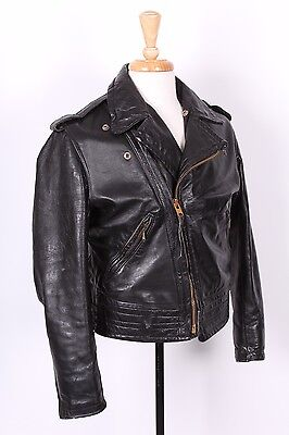 Vtg Cal Leather Chp Motorcycle Coat Jacket Usa Mens Size 38-40