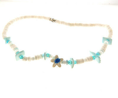 Puka Shell with Plumeria Necklace 5mm 15.25 inch