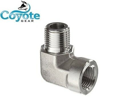 "High Pressure 1/4"" NPT Street 90 Elbow Pipe Fitting 3000 PSI Steel Coyote Gear"