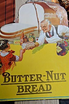 Butter-Nut Bread Hanging Grocery Store Sign Girl Buying Bread Baker circa1930