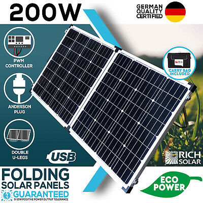 New 12V 200W Folding Solar Panel Kit Mono Caravan Boat Camping Power Battery