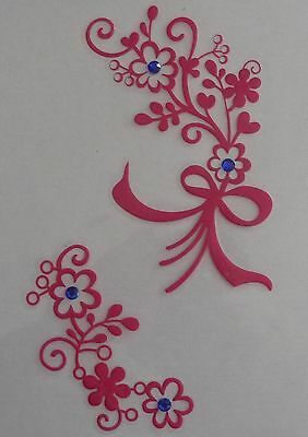 Pink FLOWERS +Bow Design Sticker for Apple iPad/Tablet/Laptop Decal NEW art skin