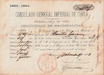 Colonial Spain 1883 Chinese Nationality Certificate,Red Seal,SIGNED IN CHINESE