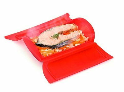 Lékué STEAM CASE 1-2 Person 650ml FRUIT VEGETABLES STEAMER Silicone RED LEKUE