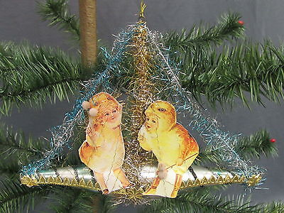 Victorian Style Lowe&Giamo Easter Glass Ornament Children Dressed as Chicks