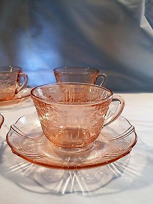 American Sweetheart Pink Depression Cup Saucer Set Of 7 + Bonus 1930-36