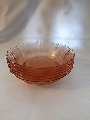 "American Sweetheart Pink Depression 6"" Cereal Bowl Set Of 6  1930-36"
