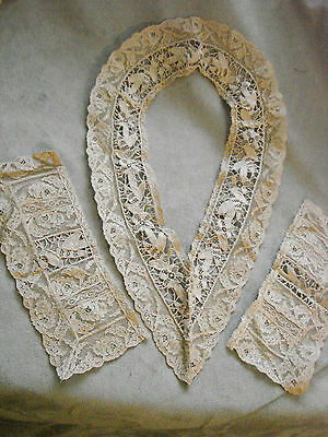 Vintage Ecru Lace Collar & Cuffs EC Edwardian 20s NOS Antique
