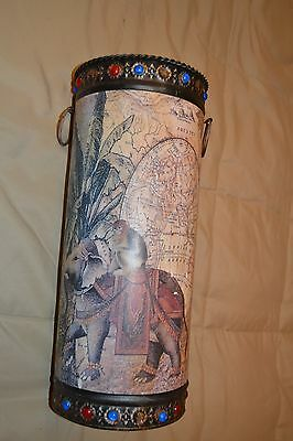 "16.5"" Rustic Metal w/Unique Elephant & Map Design Floor Vase Cane-Umbrella Stand"