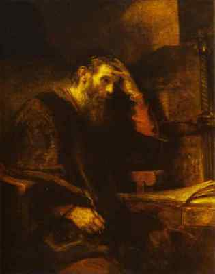 The Apostle Paul by  Rembrandt Giclee Print Repro on Canvas