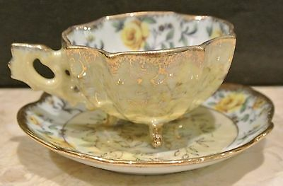 Iridescent Napco Hand Painted Yellow Roses Footed Cup & Saucer
