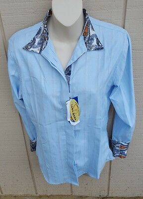 NWT ROYAL HIGHNESS Long Sleeve Blue Coolmax Snap Collar Horse Show Shirt 34 38