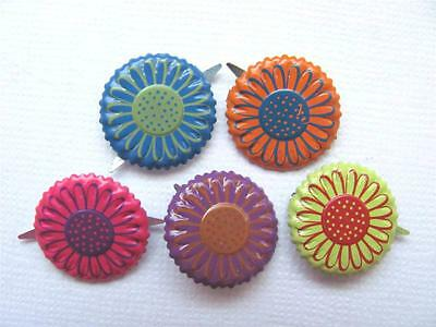BRADS FLOWERS BRIGHT ROUND pk of 6 flower floral split pin craft scrapbooking