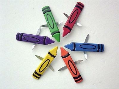 BRADS CRAYONS pk of 6 crayon school kindy art split pin craft scrapbooking