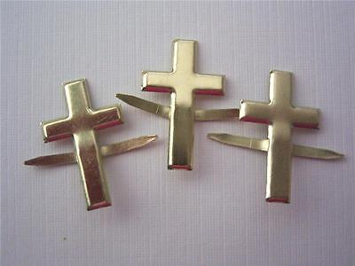 BRADS CROSS GOLD pk of 6 crosses wedding church split pin craft scrapbooking