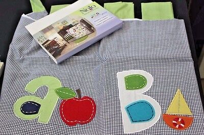 NoJo ABC with ME Window VALANCE Alphabet Sailboat Apple Applique Blue Gingham