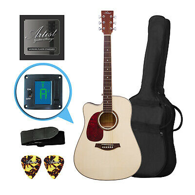 Artist LSPCNTL Left Handed Acoustic Guitar Pack with Cutaway - New