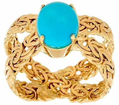 Sleeping Beauty Turquoise Gemstone Byzantine Band Ring Real 14K Yellow Gold QVC