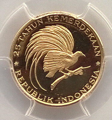 Indonesia 1970 Bird of Paradise 2000 Rupiah PCGS Gold Coin,Rare!