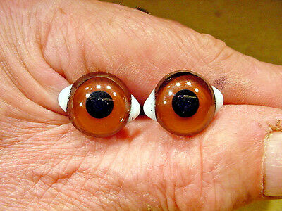 a pair vintage solid Glass Eyes size 7 mm teady bear taxidermy age 1910 Art A62