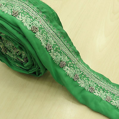 Vintage Indian Green Lace Trim Used Sari Border Embroidered Sewing 1YD Ribbon