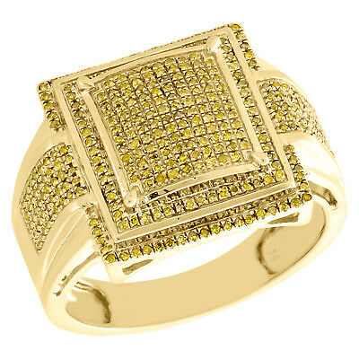 10K Yellow Gold Yellow Diamond Step Square Men's Pinky Ring Fancy Band 0.48 CT.
