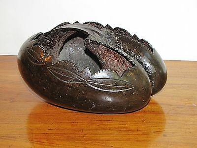 Antique Coco de Mer, ethnic carved as a fruit bowl