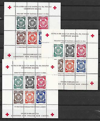 Poland stamps 1945 Dachau 3 perforated RED CROSS Sheets UNG VF