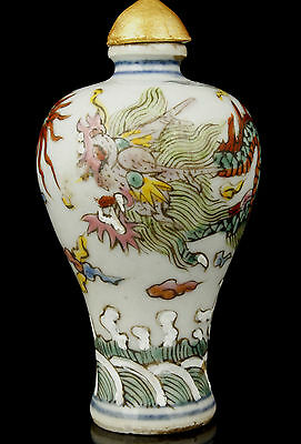 China Collectible Handwork Painting Exquisite Dragon Porcelain Snuff Bottle