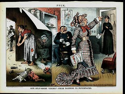 Immigrants Improved Lives Hypocrisy Poverty 1884 antique color lithograph print