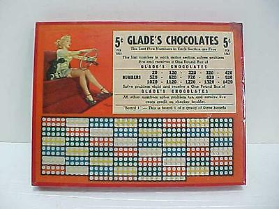 Orig. 1940's GLADE'S CHOCOLATES / 5 Cent PUNCH BOARD TRADE STIMULAOR / UN-USED