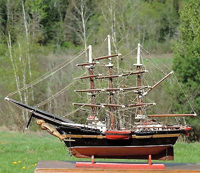 1864 Antique Boat Model Tall Ship Handcrafted Maritime Nautical Collectible