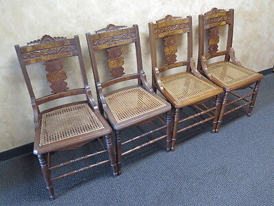Set of (4) Antique Wood Cane Wicker Seat Carved Floral Urn Back Accent Chairs